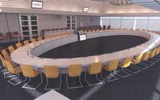 De zaal waar de gemeenteraad van Emmen normaal gesproken vergadert.