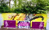Doutzen Kroes geschilderd door Marcus Wedman. De olifant geschilderd door Nicky Nahafahik. Het linker- en rechterblok geschilderd door stencilartist Trendkill_stencils. Het middelste blok geschilderd door stencilartist Ninapaintina.