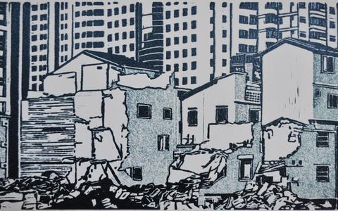 Linodrukwerk van Hans Eikelboom.