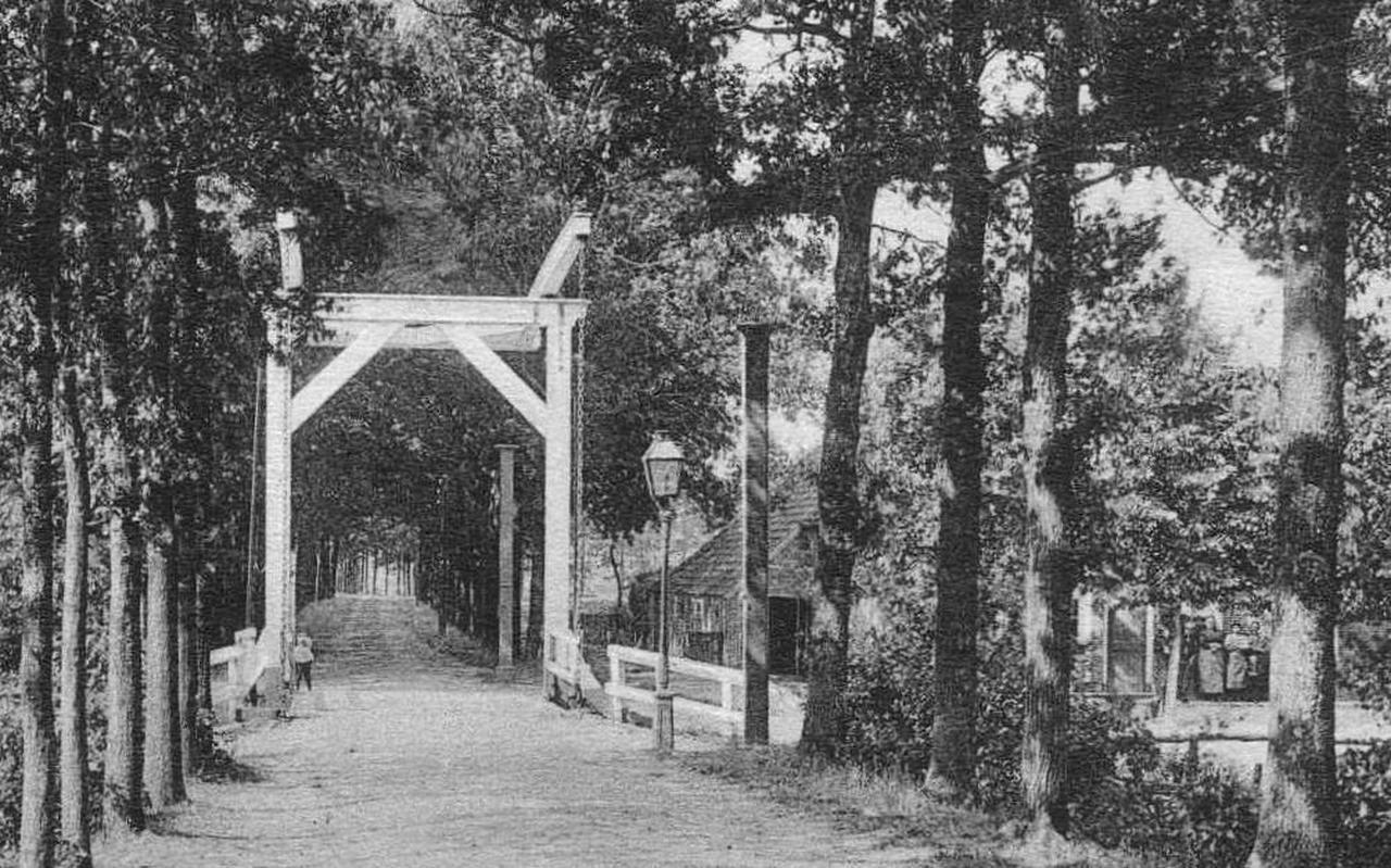 De brug in de Riegshoogtendijk, die het café mogelijk maakte, café rechts tussen de bomen.