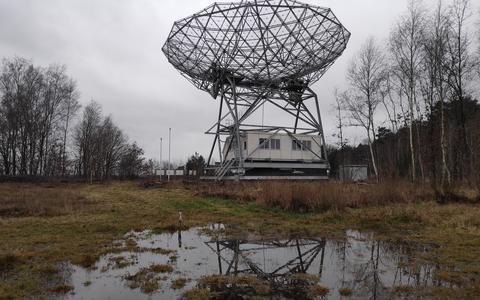 De radiotelescoop in Dwingeloo.